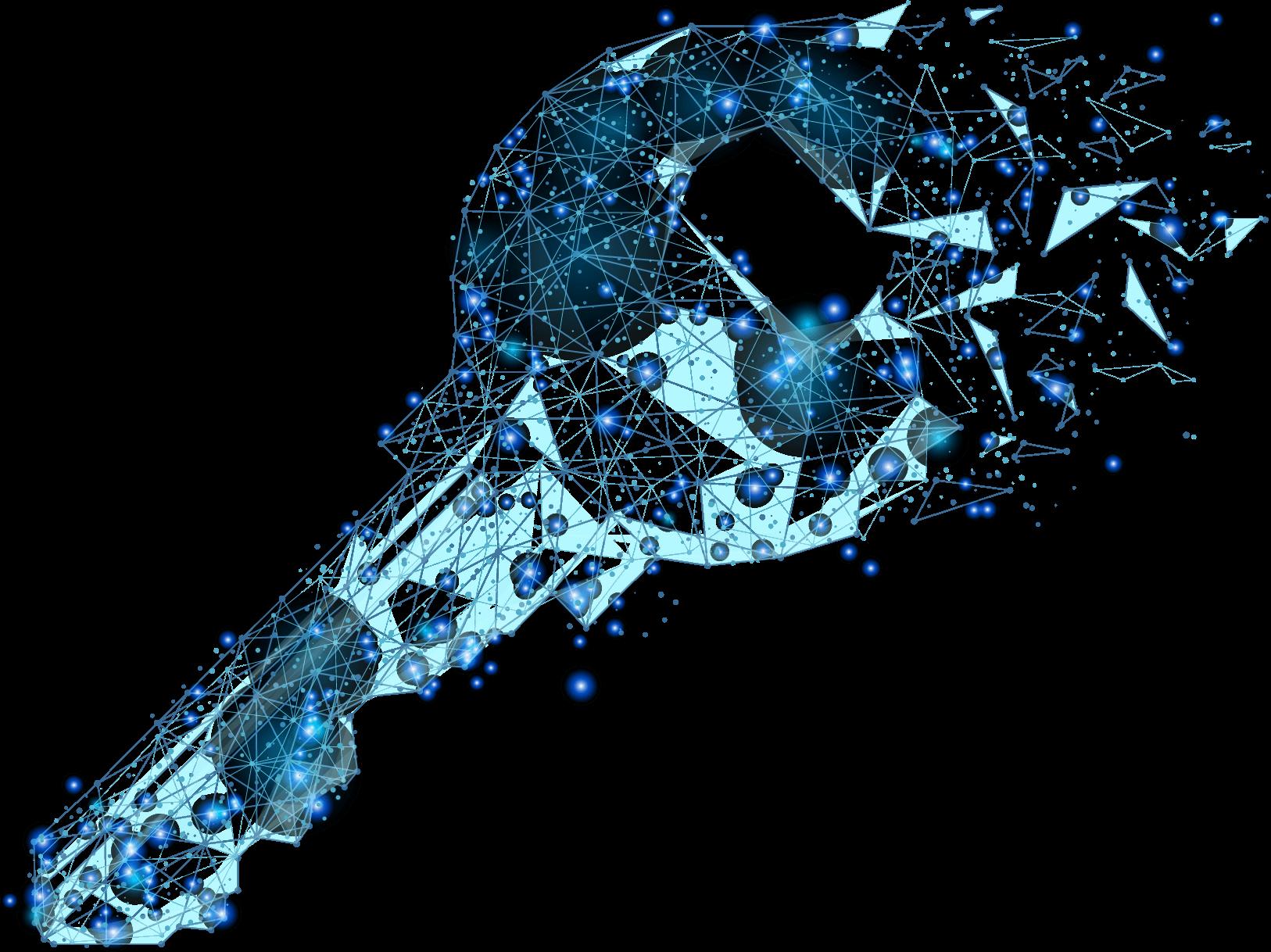 Ein Schlüssel aus einem Netz aus Dreiecken