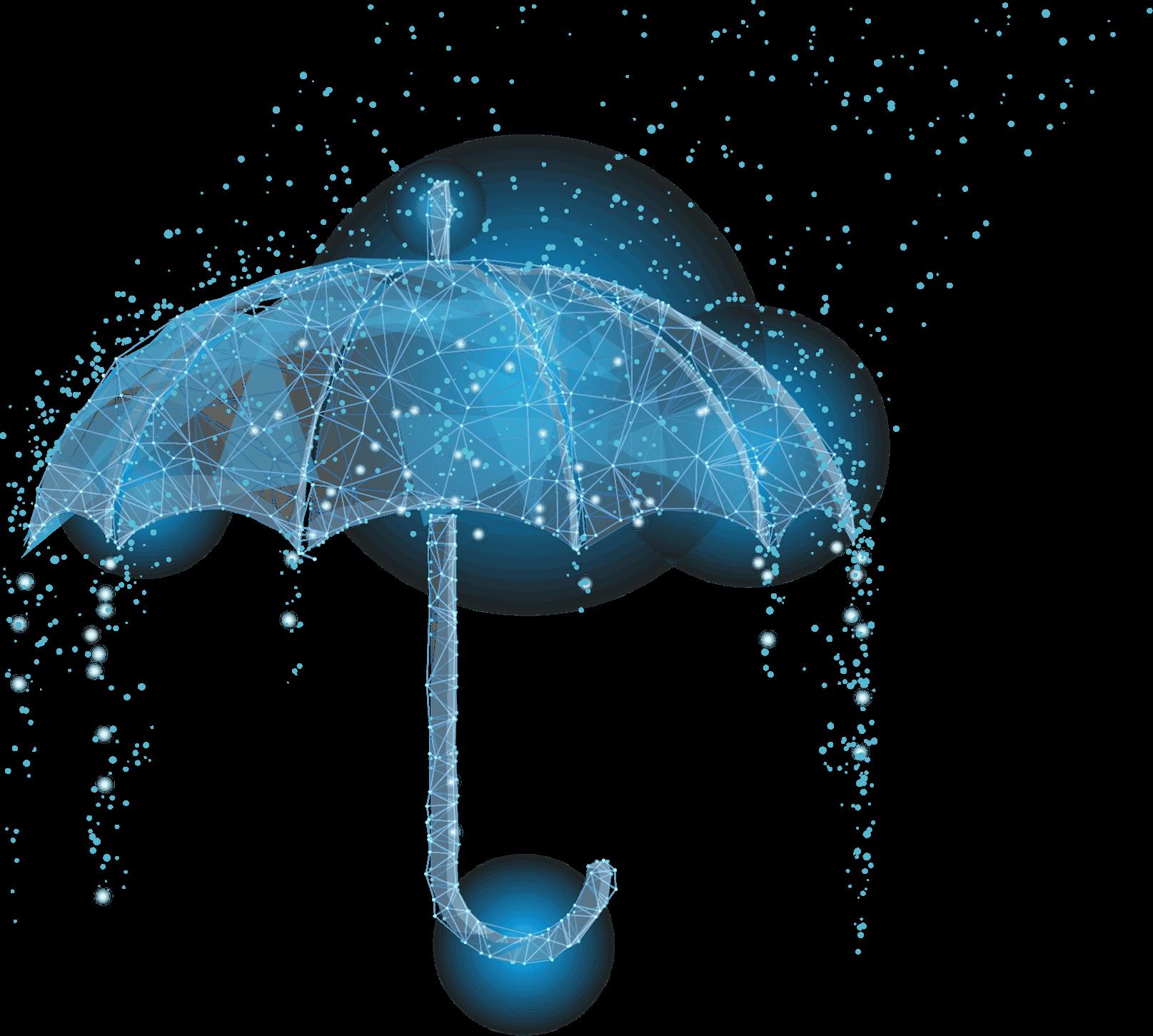 Ein Regenschrim aus einem Netz aus Dreiecken